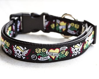 Australian Made  Tattoo Dog Collar / Skulls Dog Collar /