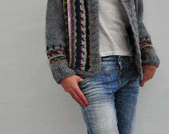 Hand knitted woolen cardigan