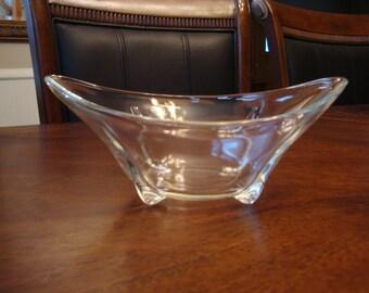 Anchor Hocking Swedish Modern Footed Crystal Bowl!