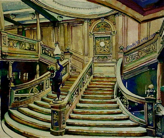 Titanic Staircase Watercolor Print Ship Painting By