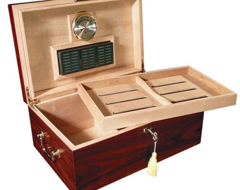 Cigar Humidor Customized Engraving Cherry Humidor with Lock and Handles 120 Count