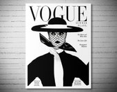 Vogue Cover April 1, 1950 Vintage Vogue Poster - Poster Paper, Sticker or Canvas Print