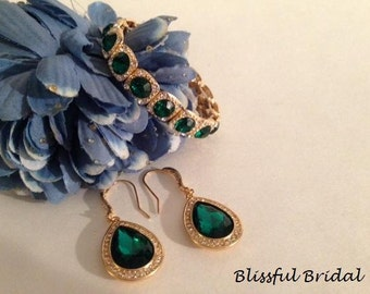 Emerald Bridesmaids Earrings, Green Jewelry Set, Bridesmaids Jewelry Set, Wedding Jewelry Set, Emerald and Gold Set, Bridesmaid Jewelry