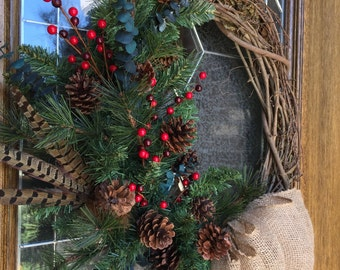 Rustic Wreath, Rustic Decor, Burlap Bow, Red Berries, Pine Cones, Feathers, Grapevine Wreath
