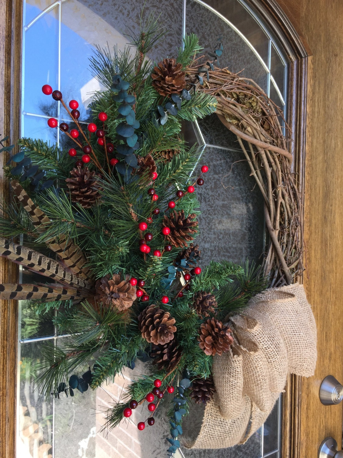 Rustic Wreath Rustic Decor Burlap Bow Red Berries Pine