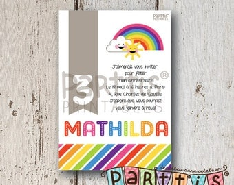 Rainbow Party Printable Invitation