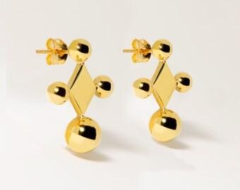 Donoma Earrings :Brass / Geometric Jewelry / Minimalist Jewelry / Statement Earrings / Cube Earrings / Handmade Earrings / Studs
