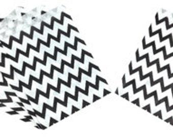 Chevron Black Paper Treat Bags 24pcs Medium PTB010023 Just Artifacts Brand