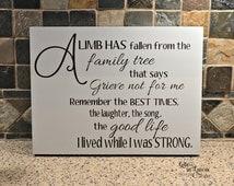 In Loving Memory Gift, A limb has fallen from the family tree, Memorial Sign, Memorial Tile, In loving Memory Sign