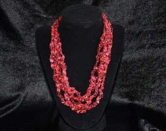 Trellis Ladder Ribbon Yarn Necklace, Red with Silver Metallic, Hand Crocheted, Jewelry