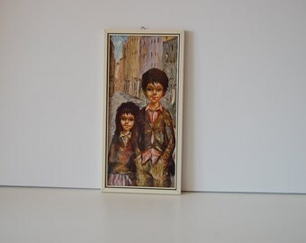 Retro painting made by Manes with a boy and a girl