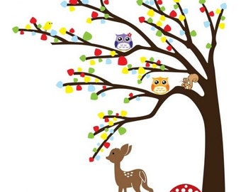Colorful Tree wall decal - Deer, Squirrel and Owls - Home Decor