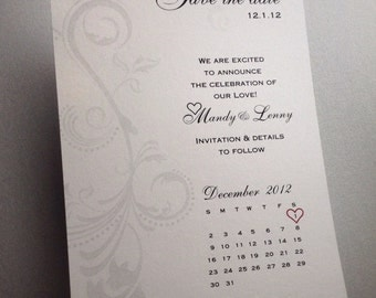Calendar Save the Date Announcement featuring a heart on your wedding date
