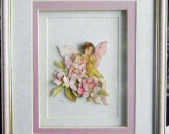 New Handcrafted Framed Decoupaged Faerie / Pixie Picture by Frances Mortimer for Mystic Elements~ Apple Blossom