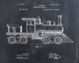 Patent Print of a Locomotive Engine Patent Art Print - Patent Poster - Train - Train Engine - Train Art