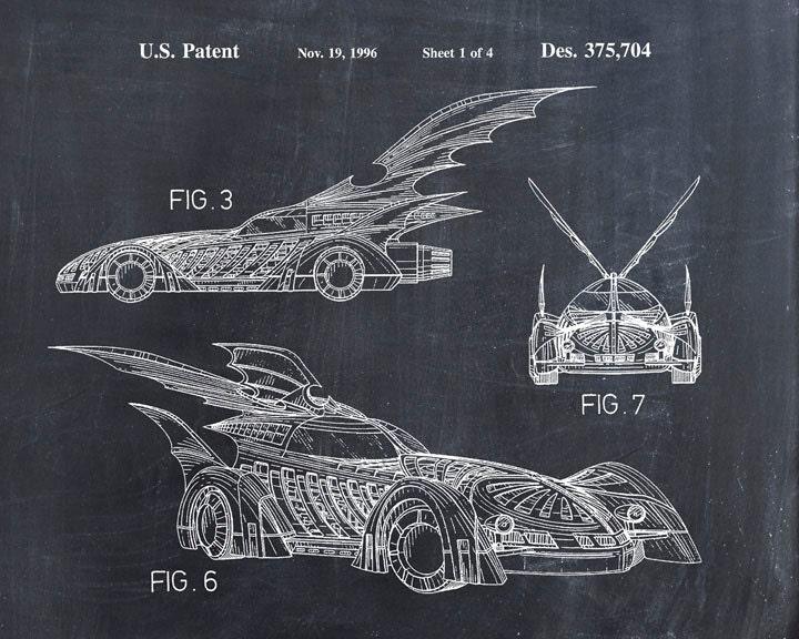 Batman Art Print Batman Batmobile Patent Print