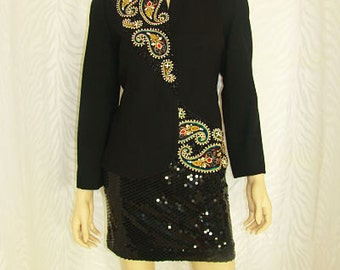Vintage Black Embroidery Jacket