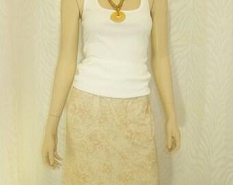 2-N- 1 White/Beige Print Pencil Skirt