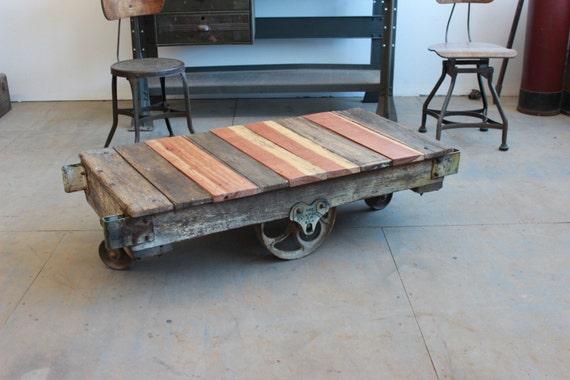 Vintage Industrial/ Rustic Antique Wood Railroad Baggage Cart/
