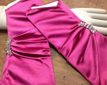 vintage 1960's SATIN fingerless GLOVES with Czech crystals one size in a fuschia color 1 pair