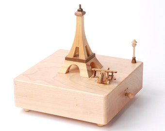 Wooden Music Box - Paris & Plane