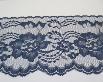 """Navy Lace Trim Ribbon  4"""" inch wide Blue Floral Lace Flower Design Sewing Lace Wedding Bridal Gift Wrap Gift Basket Home Decor Wreath WL086"""