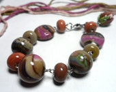 BRACELET.Beaded Jewelry Handmade Lampwork.Glass lampwork bead.