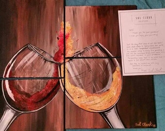 4-piece abstract wine paintings