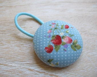 Fabric Covered Button Hair Elastic – Strawberry
