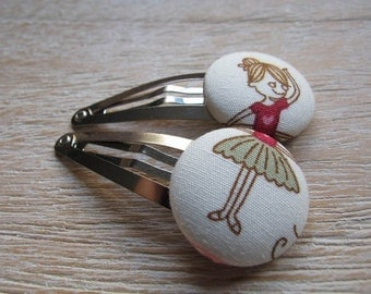 Fabric Covered Button Snap Clip - Ballet Dancer (Set of 2)