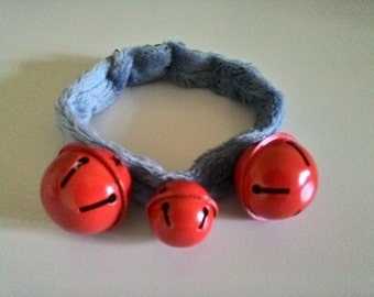 Blue Minkies Collar With Red Bells