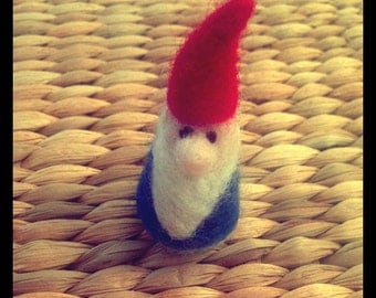 Handcrafted needle-felted pocket gnome