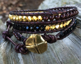 Beaded Leather Wrap Bracelet. Maroon, Black and 24K Gold Plated.