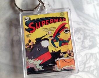 DC Comics Merchandise/ Superman Memorabilia/ Superman Collectables/ Superman Keyring /Vintage comic book covers/Keychain/superheroes keyring