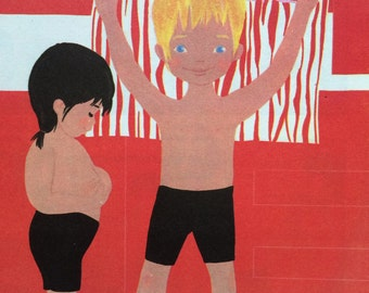 Vintage French Kids Poster. Pomme d'Api Magazine Cover 1971. Summertime. Original Print. Nursery Decor. French School Poster.