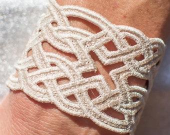 Embroidered Celtic Knot Lace Bracelet