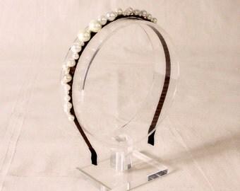 Bridal glass pearls headband, headpiece - Pearl headband, Ready to Ship