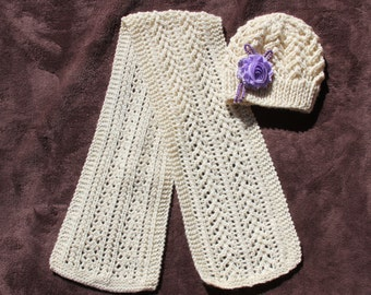 Knitted scarf and hat. Ivory color. Crochet scarf. Womens knitted scarf and hat. Knitted womens scarf & hat. Knitted scarf 100% wool