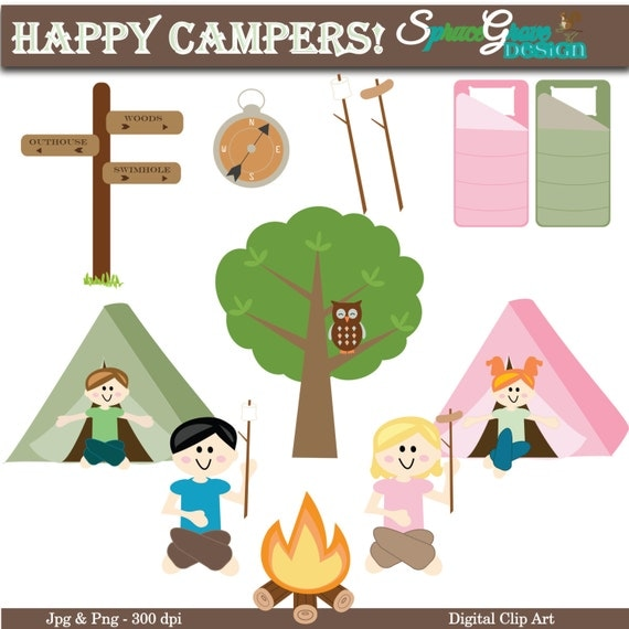 Items similar to Happy Campers Digital Clip Art for Card ...