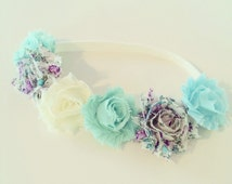 Flower Crown Headband // Mint, Aqua + Ivory Flower Crown Headband for Baby Toddler + Kids, Mint Flower Girl Headband, Aqua Mint Flower Crown