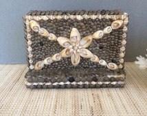 Vintage seashell art |  vintage napkin holder | mail holder | sailors valentine | shell art | coastal decor | beach decor