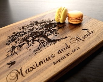 Custom Cutting Board, Tree Personalized Wedding Gift, Valentines Day Gift, Anniversary Gift, Housewarming Gift, Bridal Shower Gift, Decor