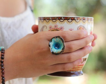 Boho jewelry One of a kind turquoise and brown ceramic ring - Ceramic jewelry Boho chic