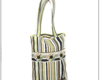 Striped  shoulder bag, handmade, decorated with buttons.