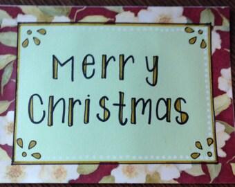 Floral handmade card (holidays, Christmas, etc.)