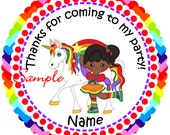 Rainbow Girl unicorn African American Personalized Stickers - Favor Labels, Party Favor Stickers, Birthday Stickers, Baby Shower