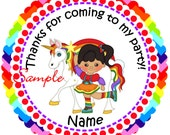 Rainbow Girl Unicorn Choice of hair color Personalized Stickers - Favor Labels, Party Favor Stickers, Birthday Stickers, Baby Shower