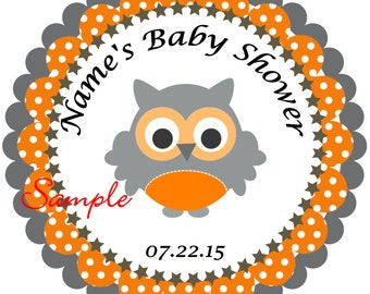 Owl Orange and grey Personalized Stickers - Favor Labels, Party Favor Stickers, Birthday Stickers, Baby Shower
