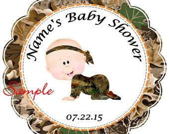 Camo - Mossy Oak - Realtree Boy Personalized Stickers - Favor Labels, Party Favor Stickers, Birthday Stickers, Baby Shower reference {4}
