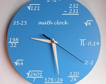 Math clock Clock for room. Modern clock. Hall Lobby Boy room Quiet clock. German clockwork. White Blue Black , Housewares, office wall clock